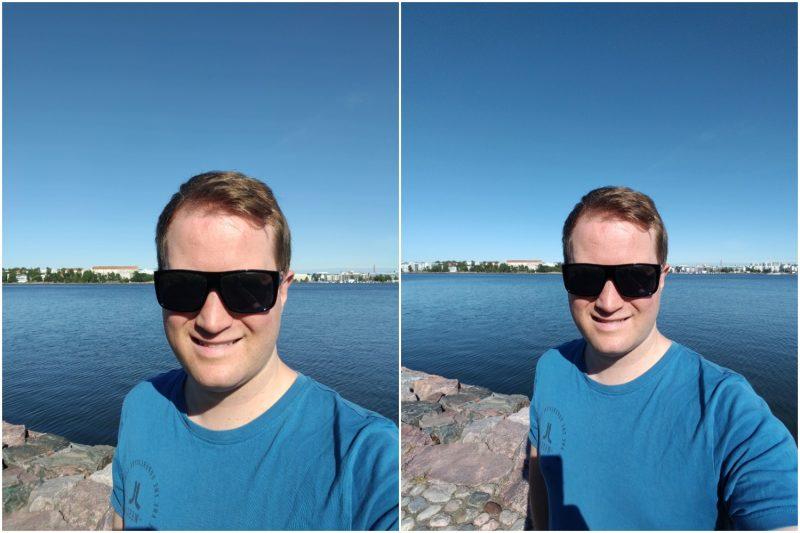 Selfie Nordin eri etukameroilla.
