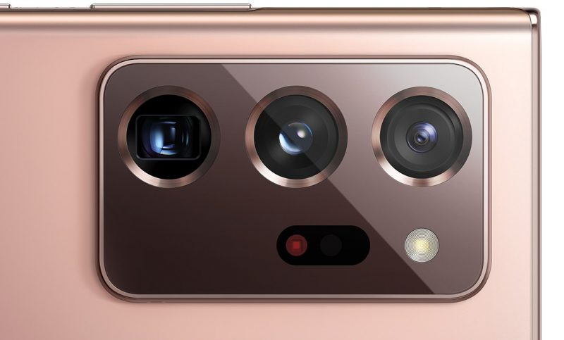 Galaxy Note20 Ultran kolme takakameraa ja laser-tarkennuksen anturit sekä LED-kuvausvalo. Kuva: WinFuture.de.