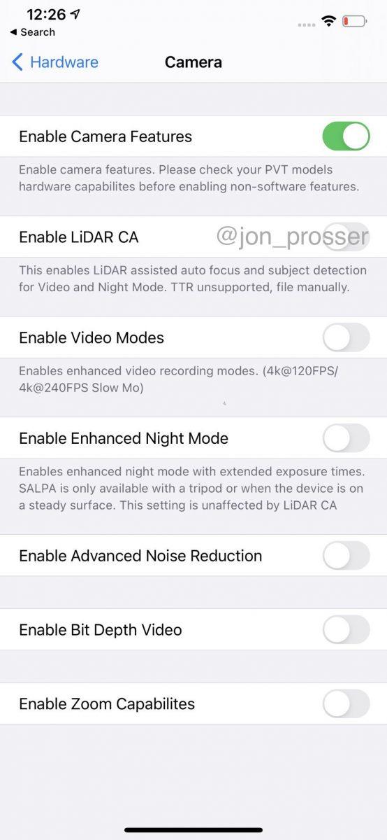 Kamera-asetuksia uuden iPhone-huippumallin prototyypissä.