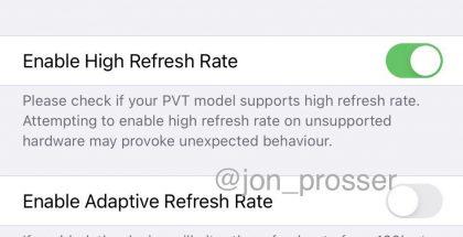 Näyttöasetuksia uuden iPhone-huippumallin prototyypissä.