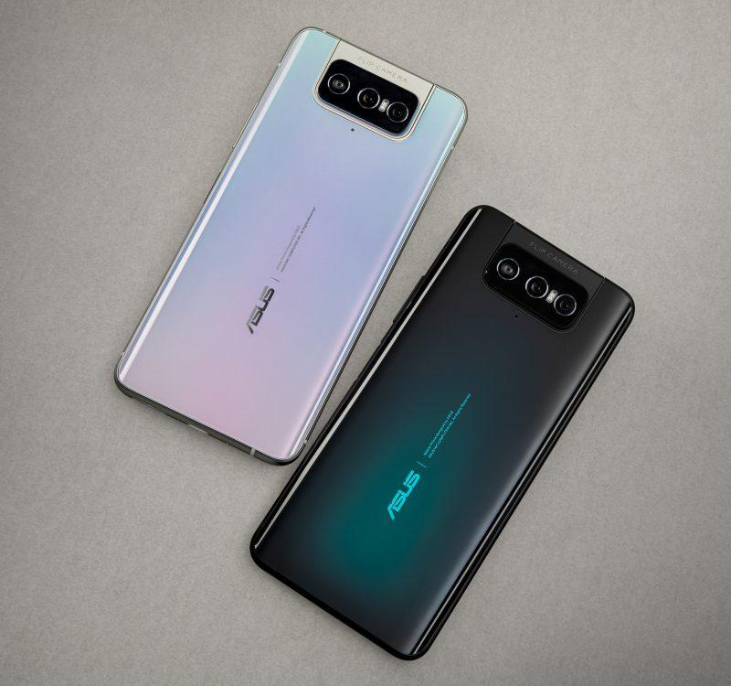ZenFone 7 -puhelinten kaksi värivaihtoehtoa, vaalea Pastel White ja musta Aurora Black.