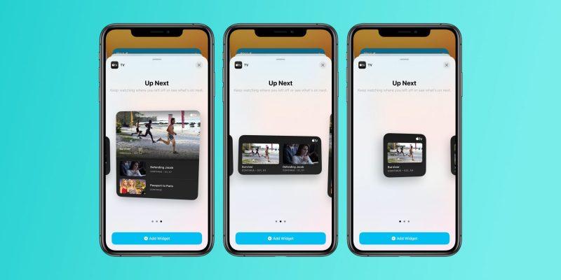 iOS 14 beta 4 sisältää TV-sovelluksen widgetit. Kuva: 9to5Mac.