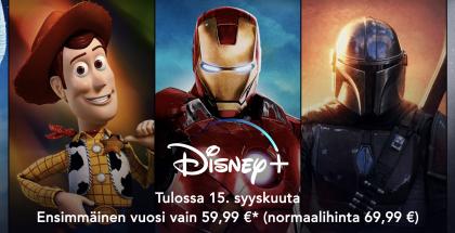 Disney+ avautuu 15. syyskuuta. Sitä ennen palvelu on ennakkomyynnissä alennettuun hintaan.