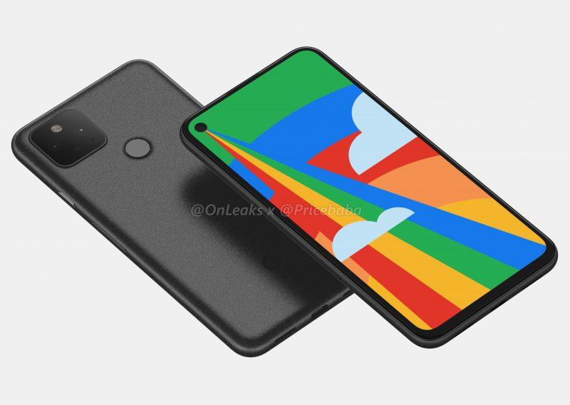 Google Pixel 5:n mallinnos. Kuva: OnLeaks / Pricebaba.