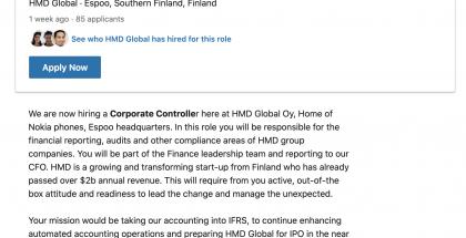 HMD Globalin työpaikkailmoitus viittaa pörssilistautumiseen.