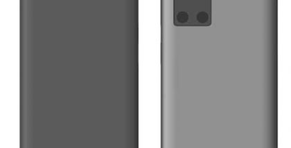 Huawein mallisuojahakemus esittelee älypuhelimen, jossa kamera-alueen yhteydestä löytyy ainakin kellonajan esittävä näyttö. Kuva: TigerMobiles.com.