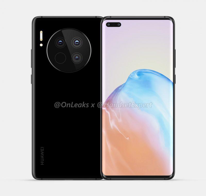 Huawei Mate 40:n designissa huomion kiinnittää suurikokoinen pyöreä takakamera-alue. Kuva: OnLeaks / HandsetExpert.