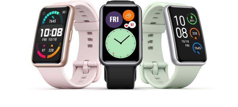 Huawei Watch Fit kolmena eri väriversiona.