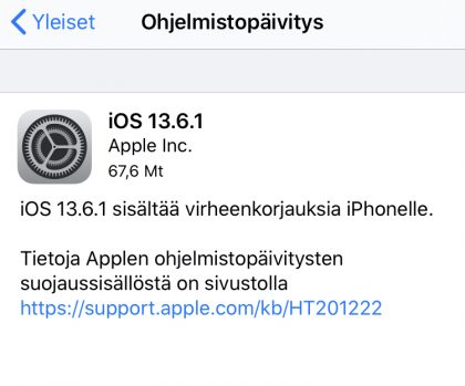 iOS 13.6.1 on nyt saatavilla.