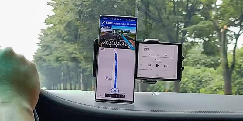 Kuva videolta LG Wing -älypuhelimesta.