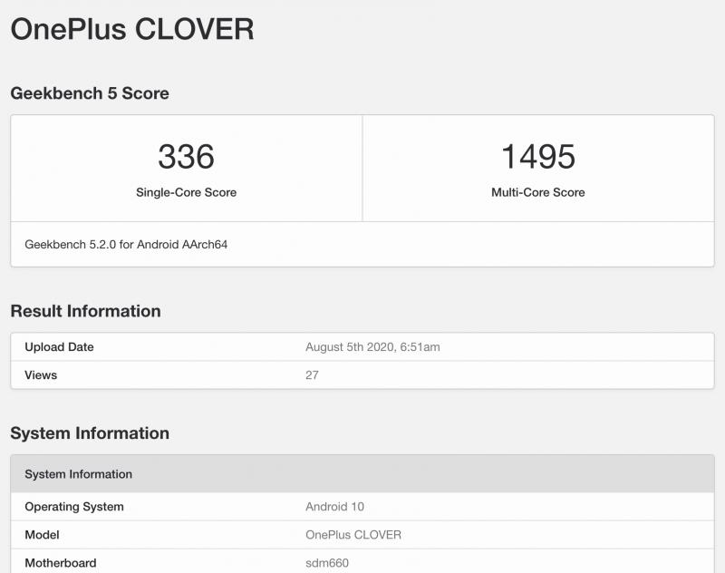 OnePlus CLOVER GeekBench-tietokannassa.