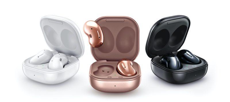 Samsung Galaxy Buds Live -kuulokkeet ja latauskotelo eri väreissä.