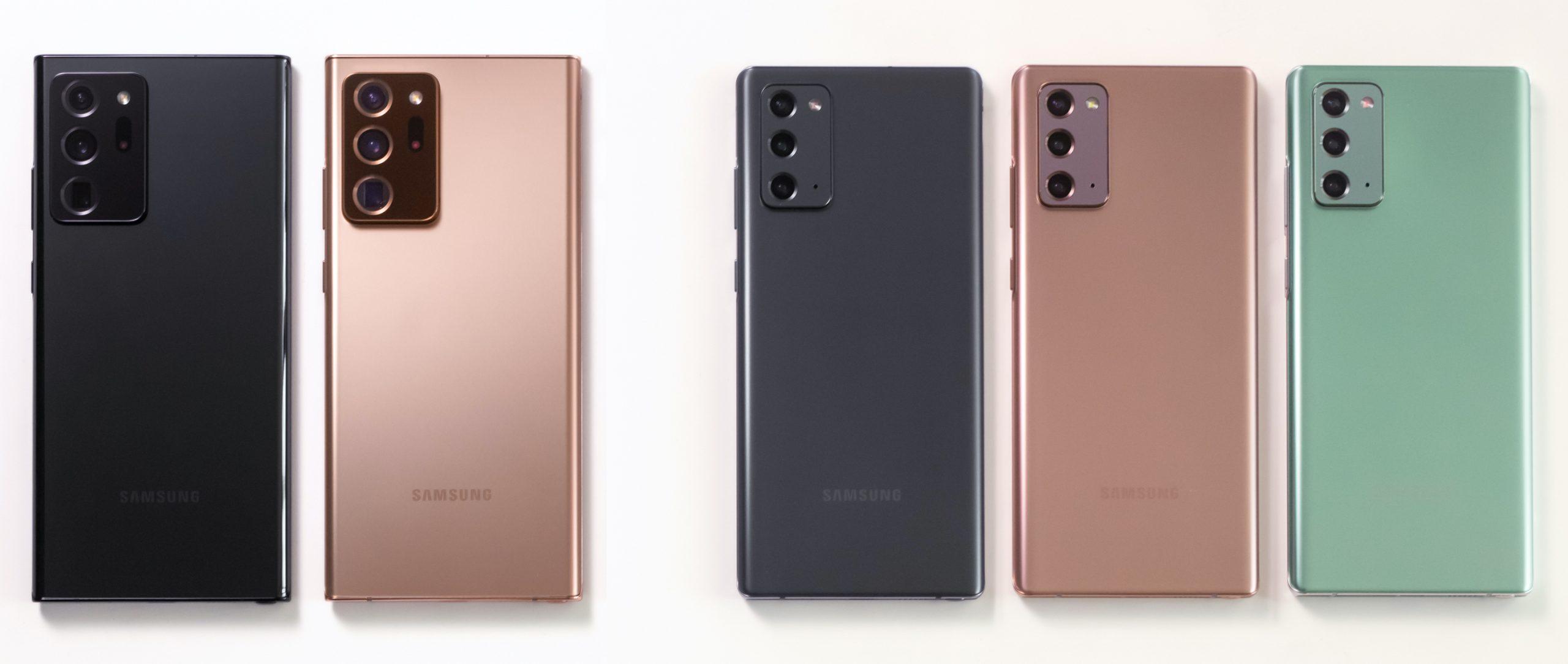Samsung Galaxy Note20 Ultran ja Galaxy Note20:n värivaihtoehdot Suomessa.