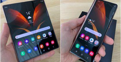Samsung Galaxy Z Fold2:n sisältä taittuu auki suurikokoinen 7,6 tuuman näyttö. Edelleen pitkulaisen kansinäytön koko on 6,23 tuumaa.