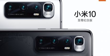 Xiaomi Mi 10 Ultran takakamerat ennakkoon paljastuneissa kuvissa. Puhelimesta on tulossa kaksi versiota, keraamisella ja läpinäkyvällä takapinnalla.