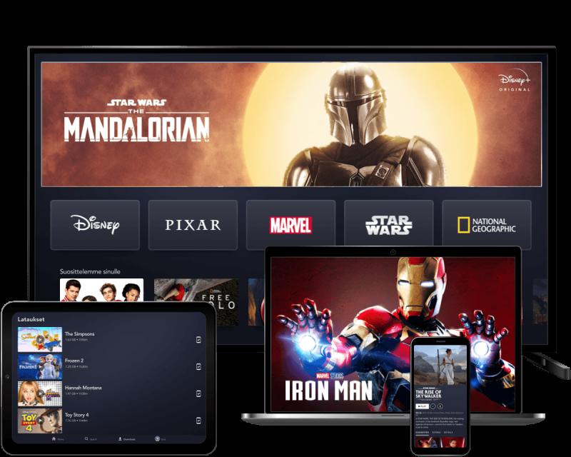 Disney+ on katsottavissa monipuolisesti eri laitteilla.