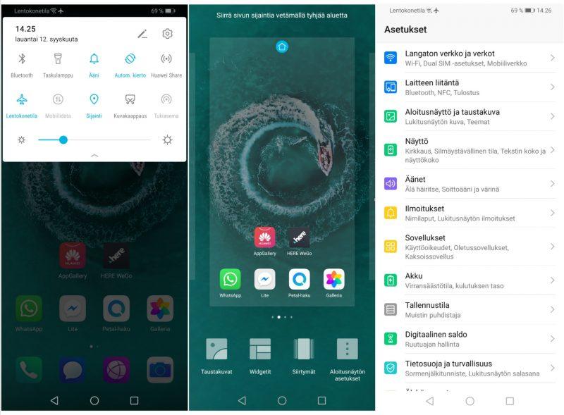 EMUI 9.1 -käyttöliittymä pohjautuu Android 9 Pie -ohjelmistoon. Kuvakaappauksia käyttöliittymästä.