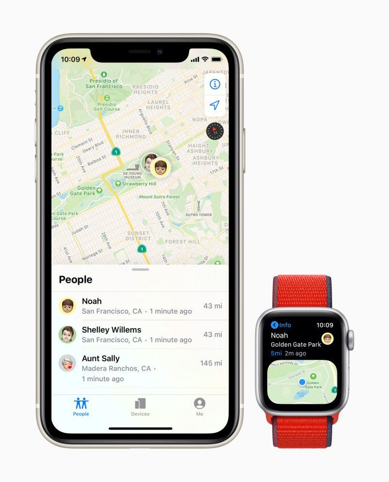 Sijainti voidaan jakaa Apple Watchista muille perheenjäsenille.