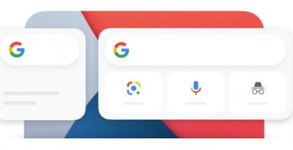 Googlen widget-pienoissovellus iOS 14:ssä.