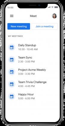 Google Meet -sovelluksen päänäkymä sisältää jatkossa listauksen tulevista tapaamisista.