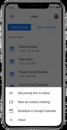Google Meetin vaihtoehdot uudelle tapaamiselle.