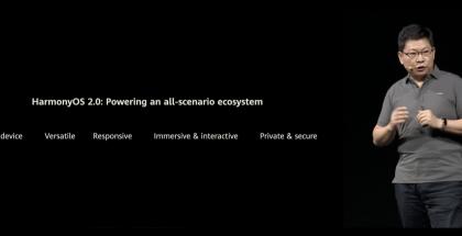 Huawein kuluttajaliiketoiminnan johtaja Richard Yu julkisti HarmonyOS 2.0:n.