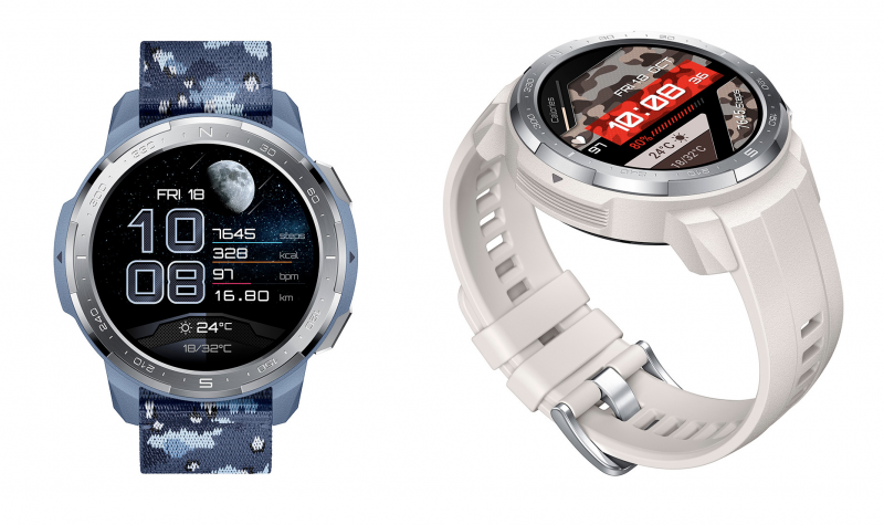Honor Watch GS Pron muita tyylivaihtoehtoja.Honor Watch GS Pro, Camo Blue ja Marl White.