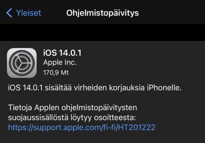iOS 14.0.1 on nyt ladattavissa.