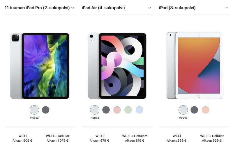 Aiempi 11 tuuman iPad Pro sekä nyt julkistetut uudet iPad Air ja iPad.