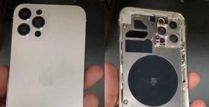 Uuden 6,1 tuuman Pro-mallin iPhonen runko aiemmassa vuotokuvassa. Esillä uusi kamera-asettelu sisältäen paikan LiDAR-skannerille.