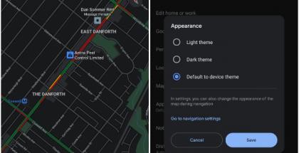Näyttökuvat tummasta teemasta Google Mapsin Android-sovelluksessa syksyltä 2020. Kuva: 9to5Google.