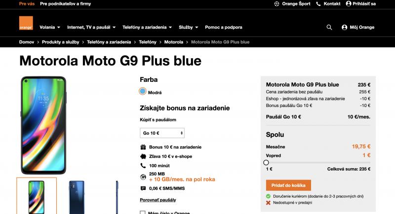 Moto G9 Plus jo Slovakian Orangen verkkosivuilla.