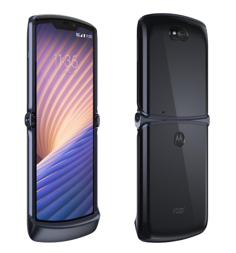 Motorola razr 5G avattuna edestä ja takaa.