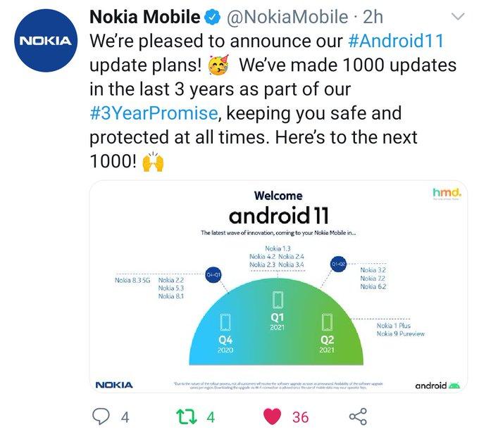 Kuvankaappaus Nokia Mobile -tilin Android 11 -twiitistä.