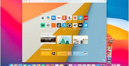 Safari 14 -selaimen aloitusnäkymä.