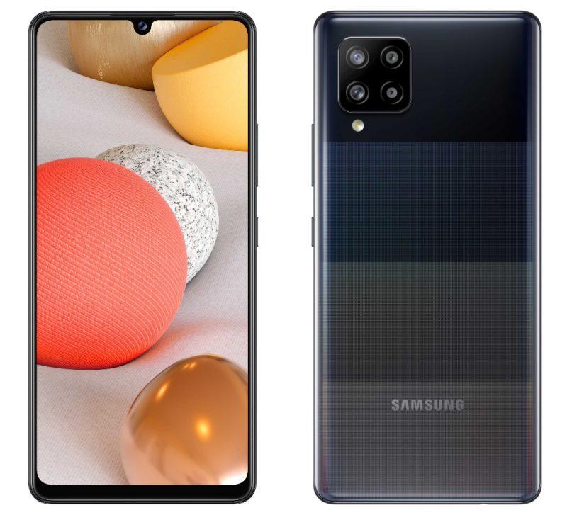 Samsung Galaxy A42 5G edestä ja takaa.