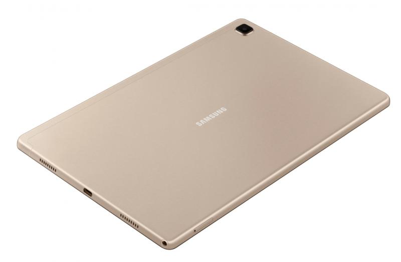Galaxy Tab A7:n varustukseen kuuluu neljä kaiutinta ja USB-C-liitäntä.