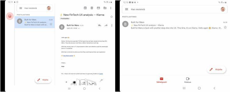 Gmail-sovellus Galaxy Z Fold2:ssa kahdella eri näyttöasetuksella. Vasemman puolisella tiheämmällä asettelulla näytölle saa näkyviin samanaikaisesti itse viestin että kansion sisällön.