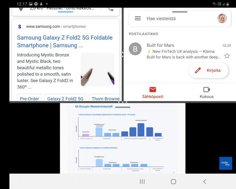 Kolme sovellusta rinnakkain Galaxy Z Fold2:n näytöllä. Näytön jakaminen vaakasuunnassa on parempi videoilla. Kuvassa ylhäällä Chrome- ja Gmail-sovellukset, alla YouTube.