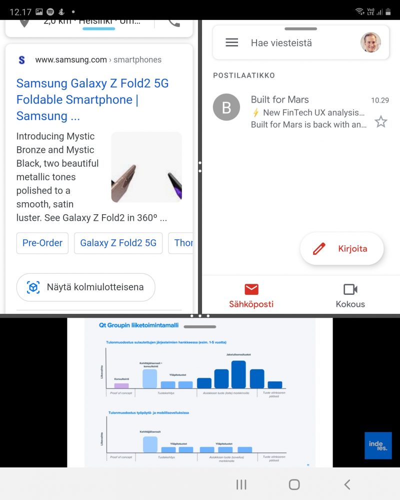 Myös näytön kuvasuhde vaikuttaa. Edellisessä kuvassa Galaxy Z Fold2 oli vaaka-asennossa, tässä taas pystyasennossa.