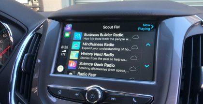 Scout FM Applen CarPlay-näkymässä.