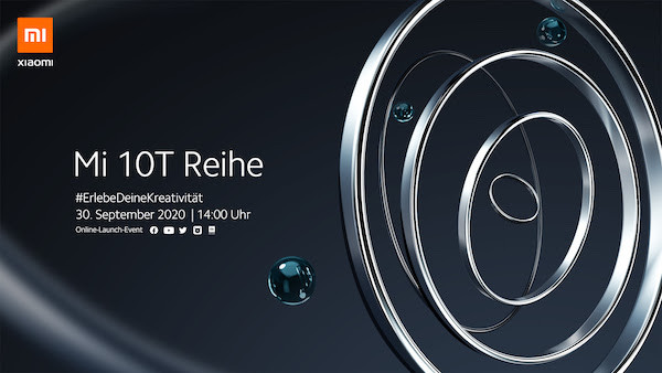 Xiaomin Mi 10T -kutsu saksan kielellä.