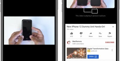 Kuva kuvassa -tila toimii jälleen YouTubessa iPhonessa Safari-selaimella. Kuva: MacRumors.