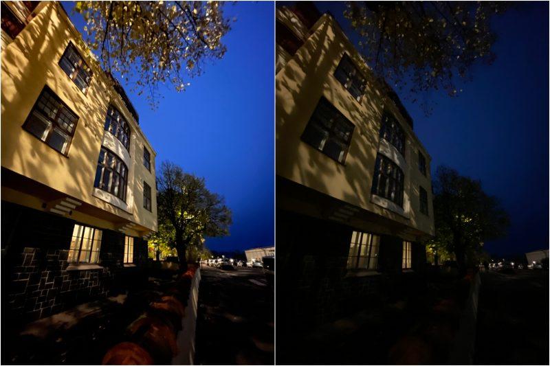 Ultralaajakulmakamera. Vasemmalla iPhone 12 Pro, oikealla iPhone 11 Pro Max.
