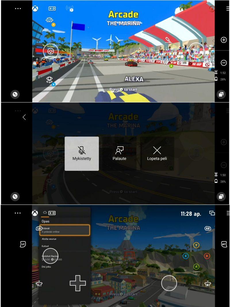 xCloudin pelinäkymää. Pelit eivät tavallisesti mukaudu älypuhelinten pitkulaisille näytöille, vaan säilyttävät alkuperäisen kuvasuhteensa.
