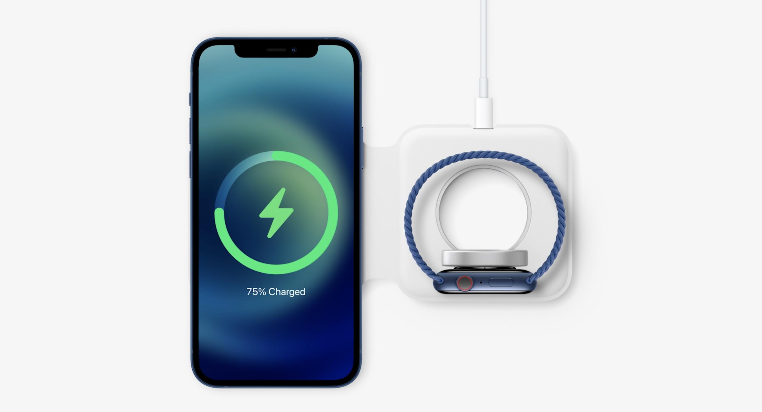 MagSafe Duo -laturi sisältää paikat sekä puhelimelle että Apple Watchille.