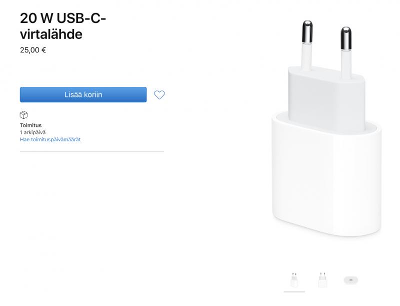 Applen erikseen myymän 20 watin laturin hinta on 25 euroa sen omassa verkkokaupassa.