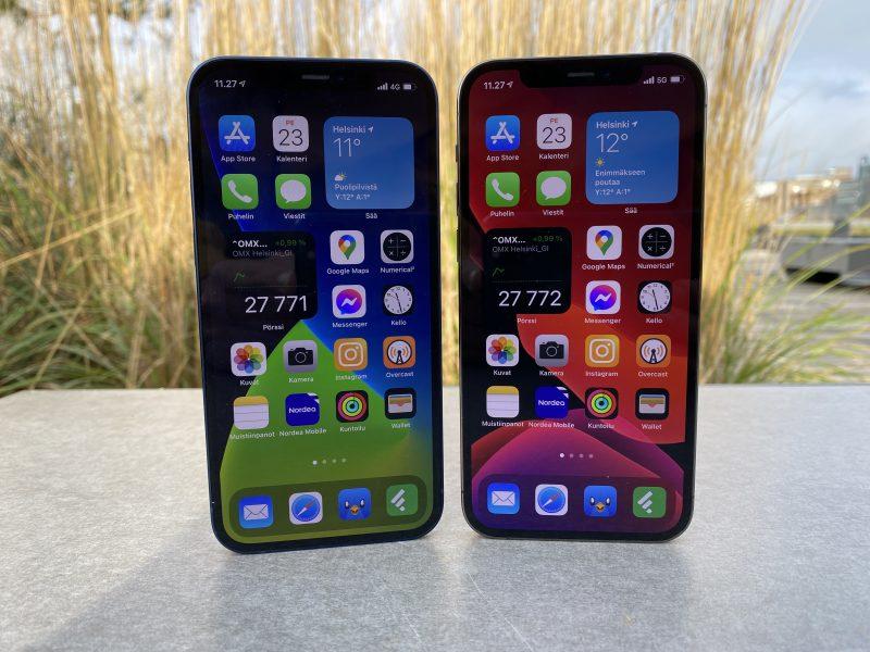 Sekä iPhone 12 että iPhone 12 Pro ovat varustettu 6,1 tuuman OLED-näytöllä.