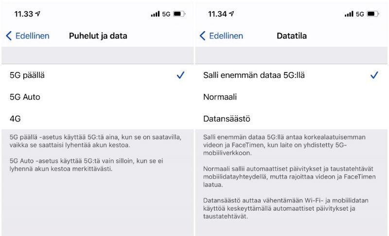 5G-verkkoasetukset uusissa iPhoneissa mahdollistavat valinnat datakäytön suhteen. Oletuksena käytössä on 5G Auto -asetus, joka käyttää 4G:tä, kun 5G:lle ei ole erityistä tarvetta.