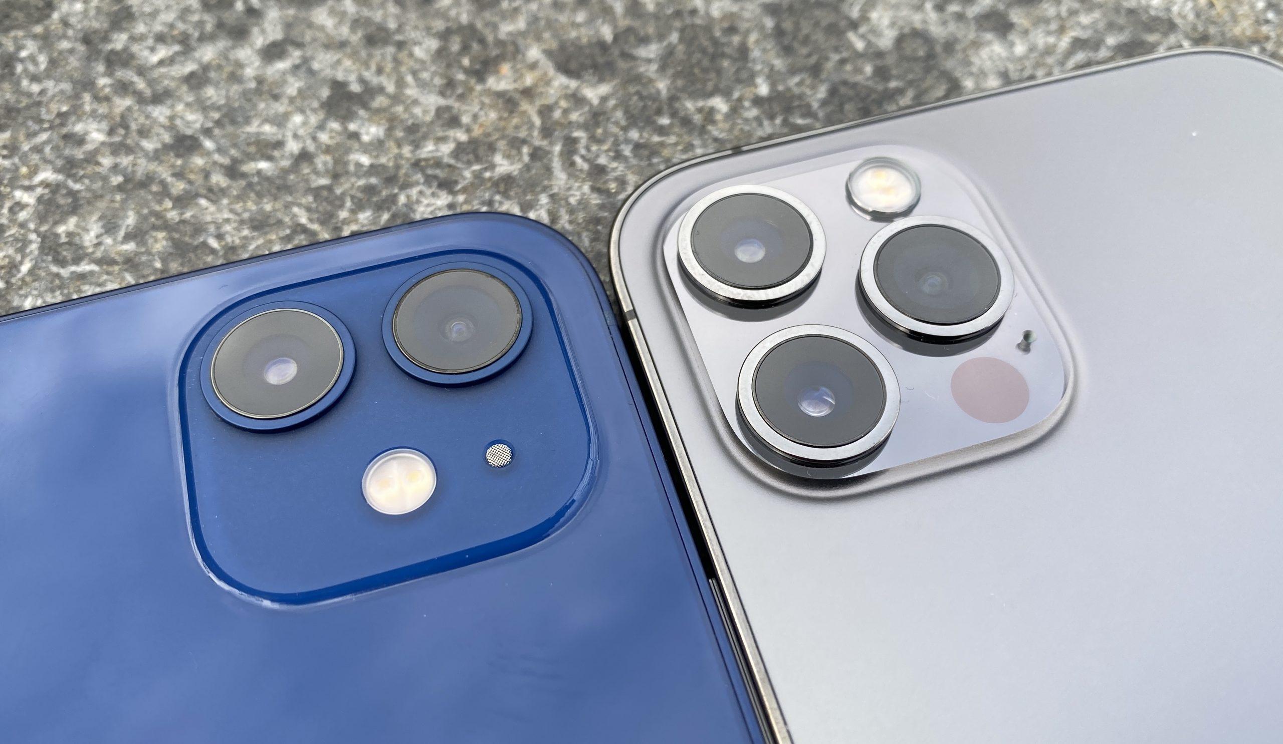 iPhone 12:ssa on pää- ja ultralaajakulmakamera, iPhone 12 Prossa lisäksi telekamera ja LiDAR-skanneri.